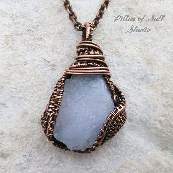 Blue Lace Agate nugget wire wrapped pendant necklace | Blue lace ...
