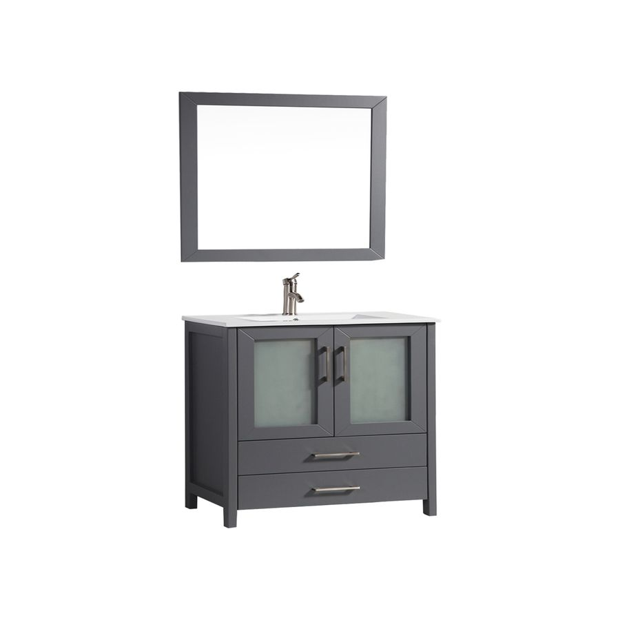 Mtd Vanities Argentina Grey Common X Integral Single Sink Oak Bathroom Vanity With Ceramic Top Faucet And Mirror Included Actual