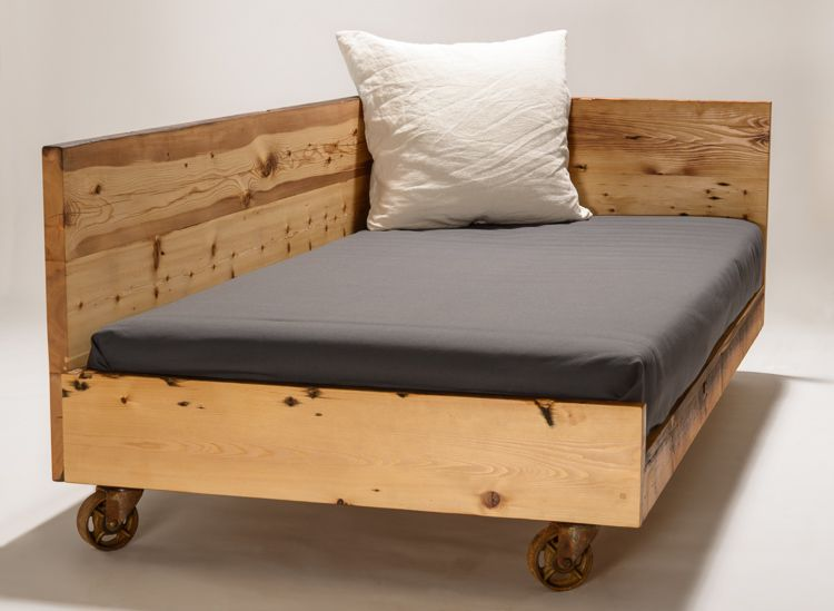 Day Bed For Twin Mattress From Reclaimed White Pine And Salvaged Industrial Casters