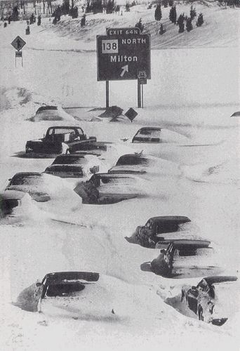 """Blizzard of 1978"" - the highway south of Boston, Massachusetts after the Great Blizzard of 1978"