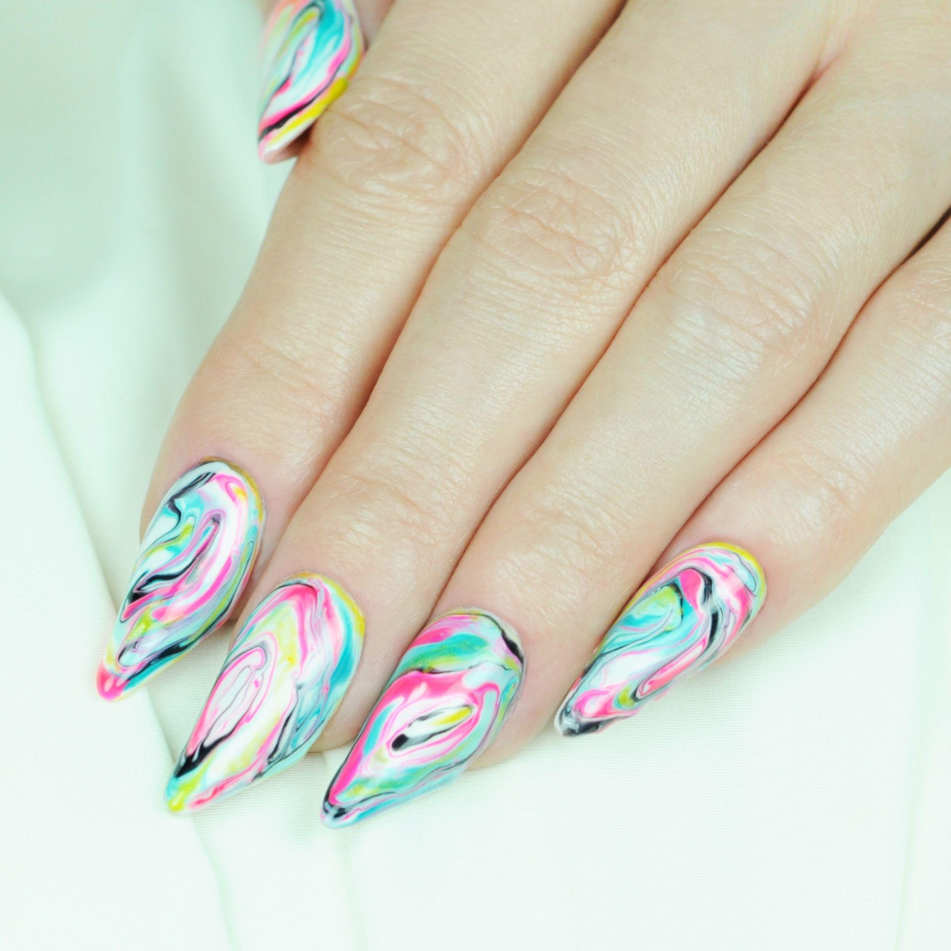 Nail Art Tutorial: Spring Marbled Nails | Nail Art | Pinterest ...