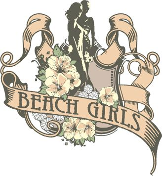 Text beach girls and flowers vector art image for printing on t-shirts.