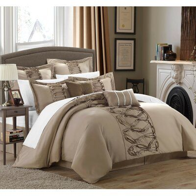 Willa Arlo Interiors Caterina 12 Piece Comforter Set Size Queen Color Taupe Comforter Sets Bedding Sets Bed Comforters