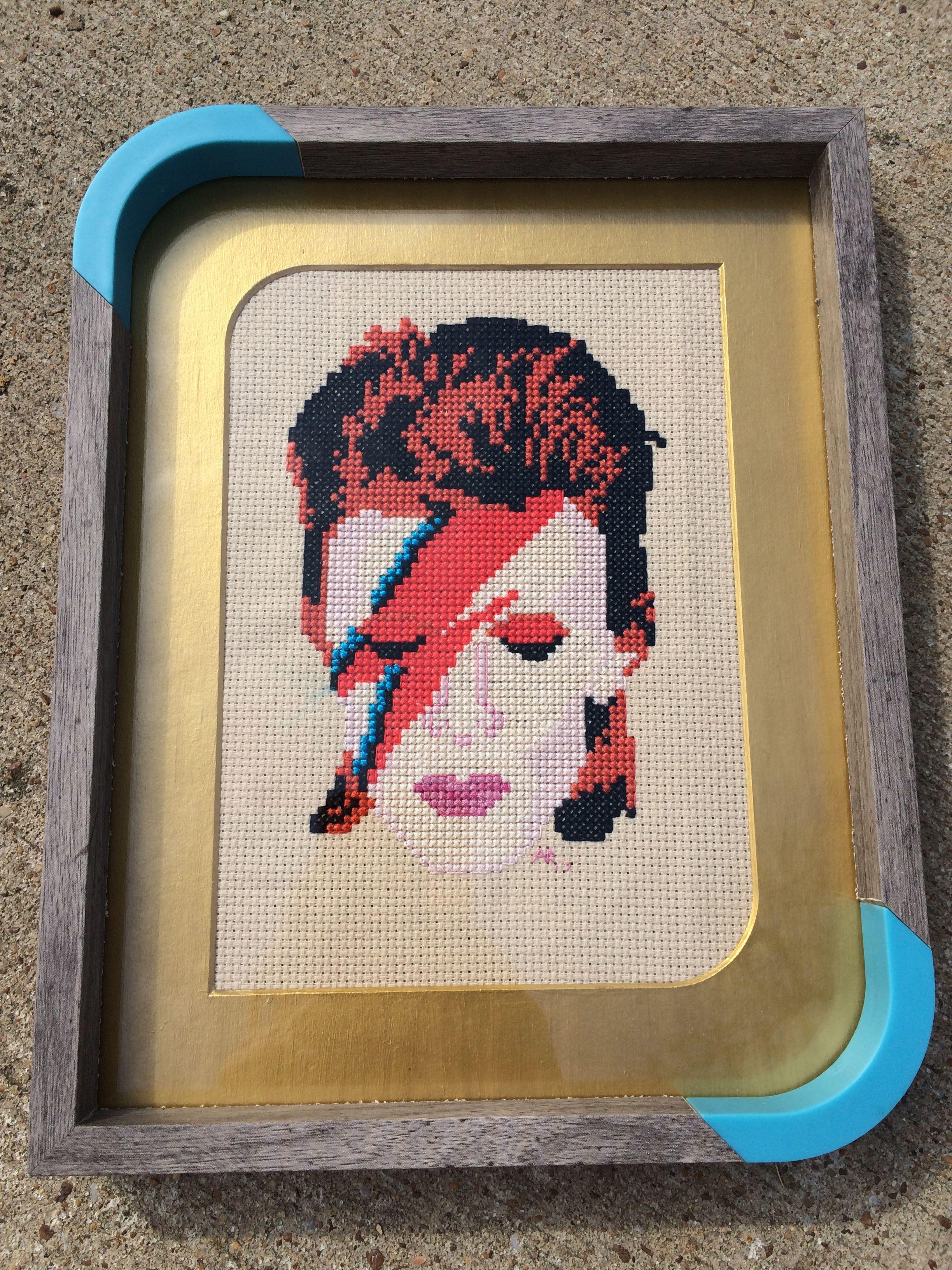 Framed David Bowie cross stitch | Crossstitch | Pinterest | Bordado ...