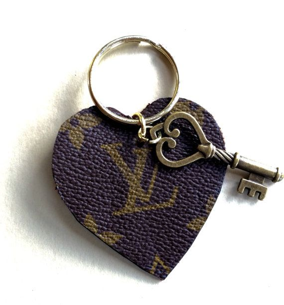 Heart Shaped Keychain Authentic Repurposed Louis Vuitton LV Canvas Luggage and Bags.