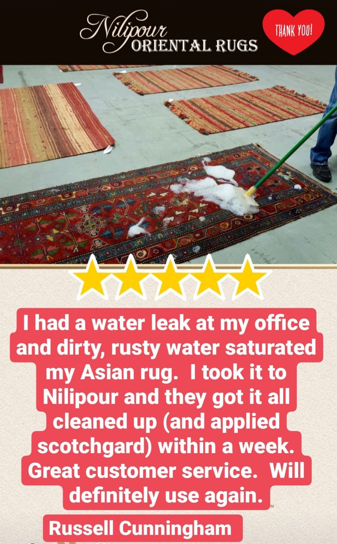#ThankfulThursday for our very gracious customer for speaking blessings over our #familybusiness and our #rugcleaning services! Serving our community to the best of our ability is our mission and making our customers happy is our passion! If you need your rugs professionally cleaned and restored, let us help you as we did Mr. Cunningham! #NilipourOrientalRugs #since1972 #rugcleaners #arearugcleaning #orientalrugcleaning #rugrestoration #arearugrestoration #orientalrugrestoration