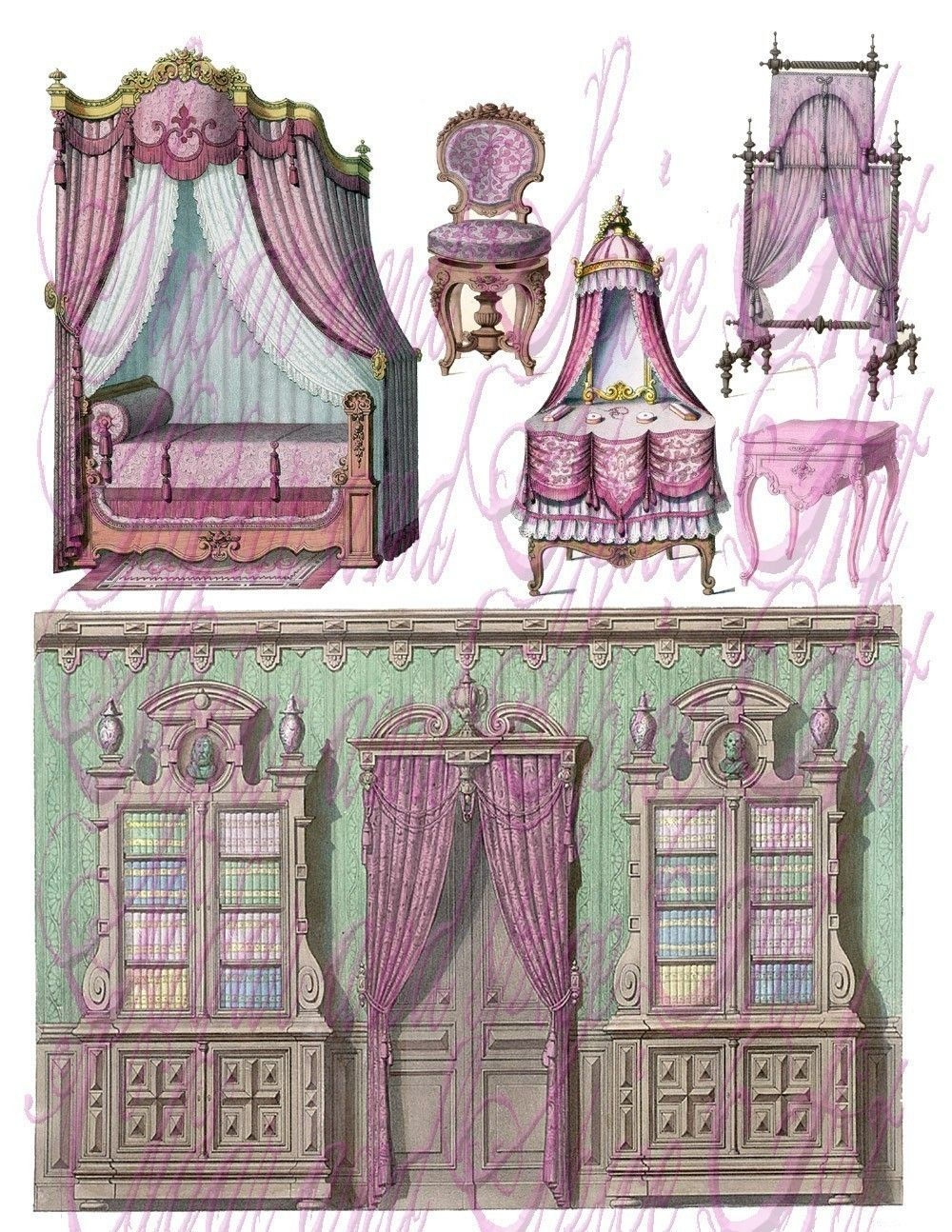 Antique chair drawing - Vintage French Furniture Drawings