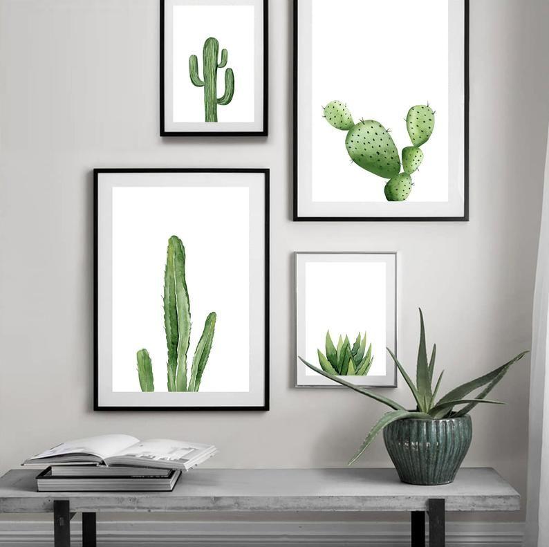 Stampa vegetale verde. Cactus stampabile. Arte botanica del sud-ovest, Tropical decor download, acquerello minimalista Wall Art. Poster interni.