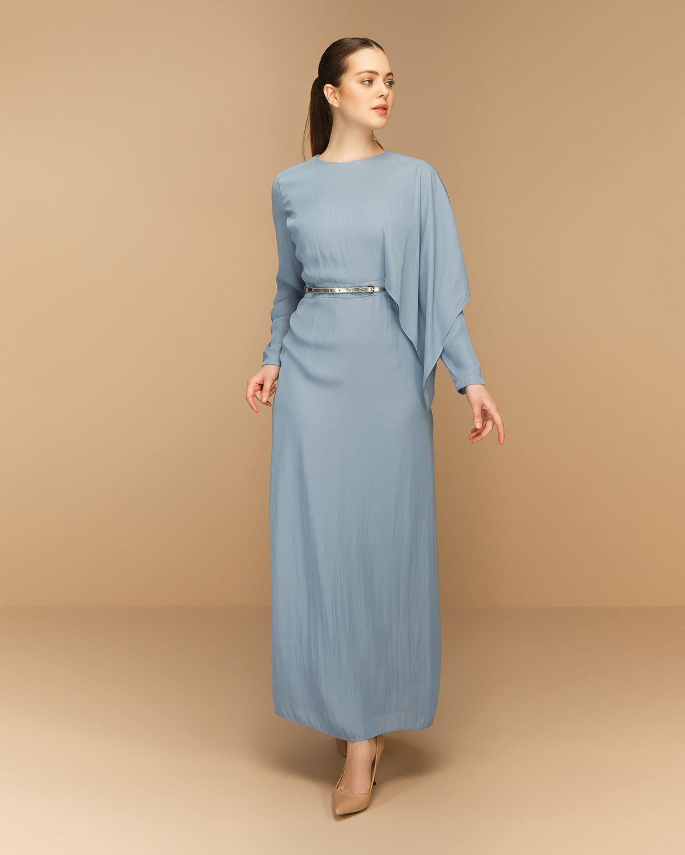 4003763ec10fe Kemerli Uzun Boy Elbise - Mavi - Seçil Store | beğendim | Giyim, Mavi
