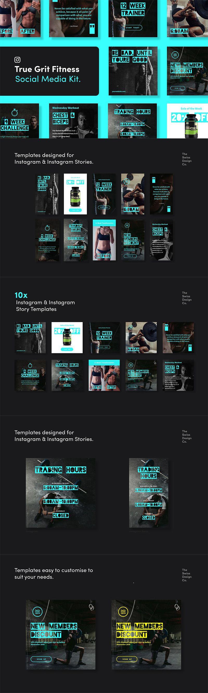 True Grit Fitness Social Media Kit Instagram Design Fitness Instagram Fitness Inspiration Pictures
