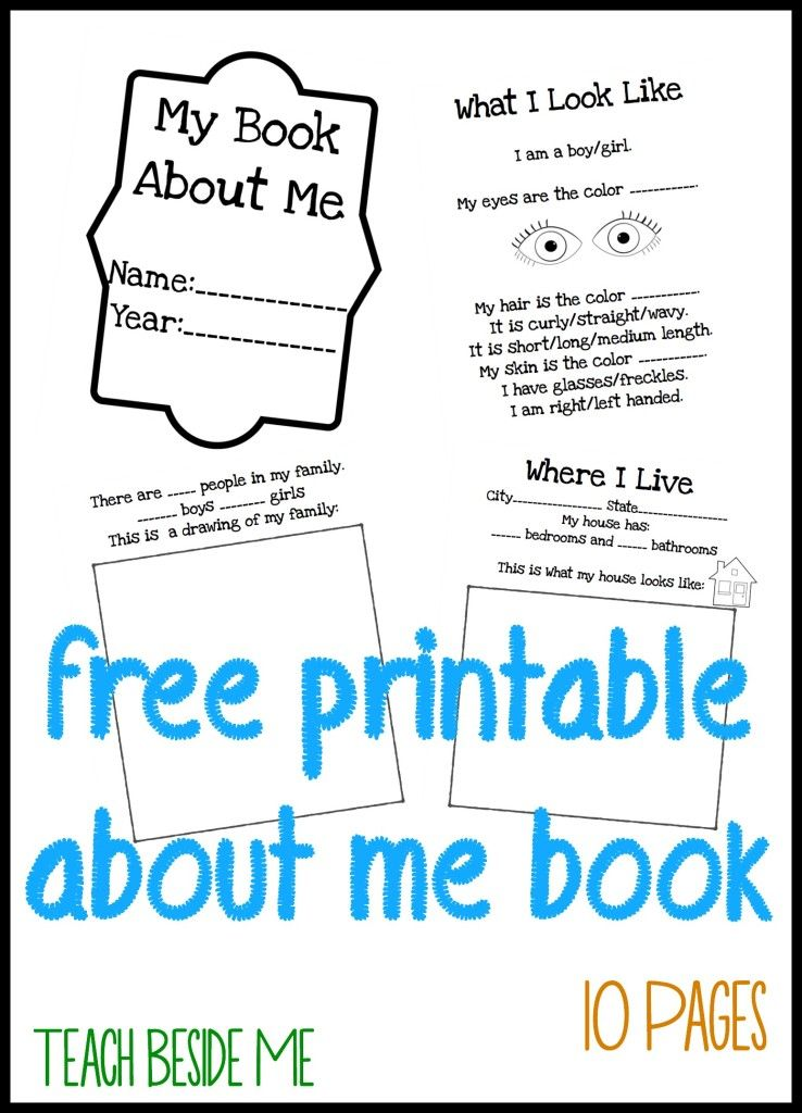 About Me Books for Kids Free printable, Books and Free