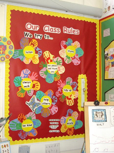 Class rules classroom display photo photo gallery for How to make a bulletin board wall