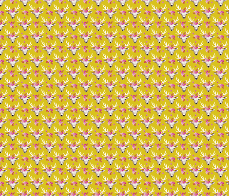 Sweet indian summer bohemian watercolor deer love  yellow mustard XXS fabric - surface design by Little Smilemakers on Spoonflower - custom fabric and wallpaper inspiration for kids clothes fun fashion and trendy home decorations.