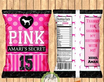 Victoria's Secret Pink Inspired Chip Bags, PINK Inspired Chip Bags, PINK Inspired Favor Bags, PINK Inspired Treat Bags-Print Set of 12