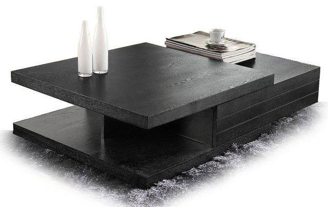 Coffee Table Contemporary Black Veneer
