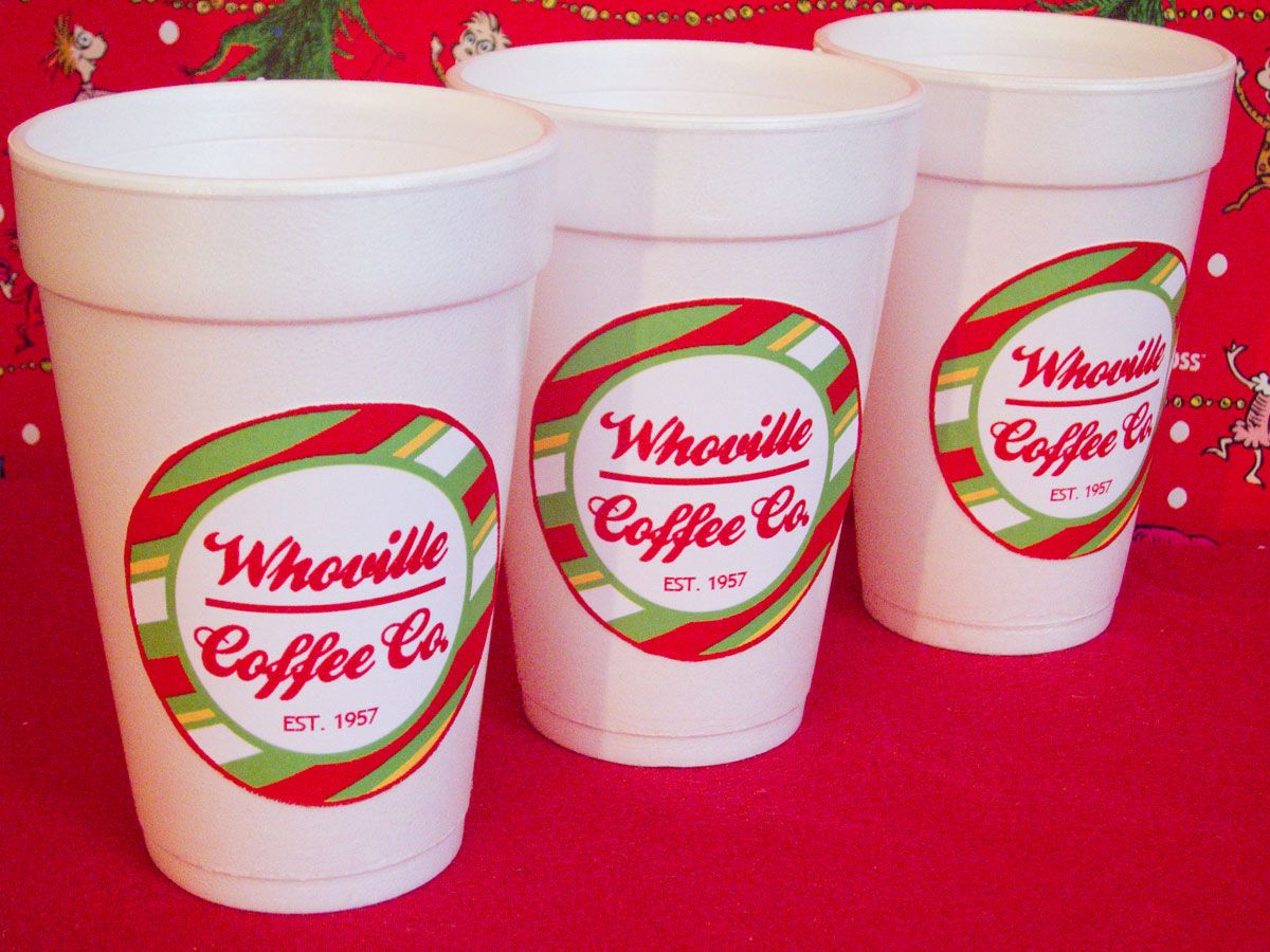 Grinch Christmas Party Ideas Part - 47: Grinch Christmas Party Coffee Cup Labels. Whoville Coffee Co.
