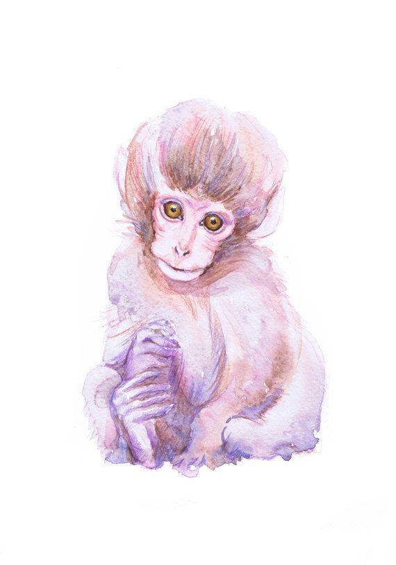 Top Baby Monkey Art Watercolor Painting, Baby Prints Boy Girl Nursery  TZ47