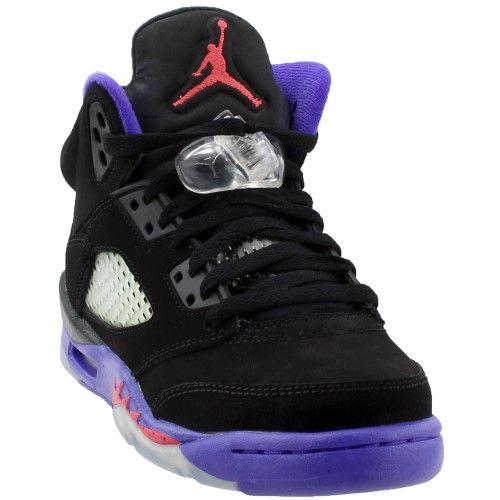 ec1a90b83547e4 Nike Girls Air Jordan 5 Retro GG  Raptor  Black Ember Glow-Fierce Purple  440892-017 Size 6.5Y