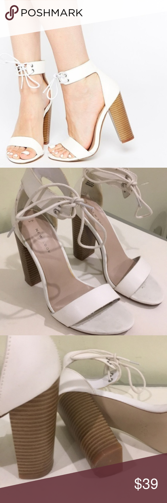 9dc7c4ca35 ASOS New Look White Block Heel Lace Up Sandal Sz 7 ASOS New Look White Block  Heel Lace Up Sandal Sz 7 In great used condition. Minimally worn.
