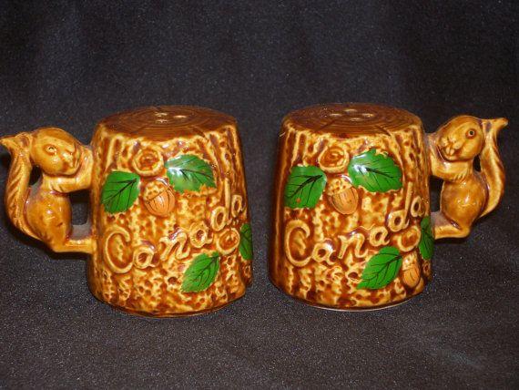 Squirrel on Tree Stump Salt & Pepper Shaker Set Vintage 1960's Japan Ceramic Canada Souvenir, $9.99