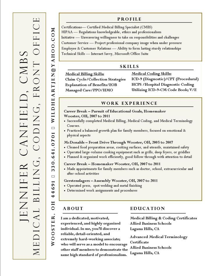 Interesting Resume Idea Not Sure I Like The Name On The Side Difficult To Read For Medical C Medical Coder Resume Medical Coding Medical Billing And Coding
