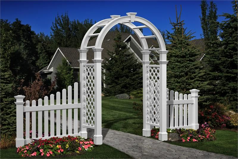 Nantucket Vinyl Arbor With Fence Wings I Vinyl Garden Arbors I The Cottage  Yard