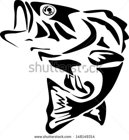 Large Mouth Bass Fish Silhouette Fish Stencil Fishing Svg