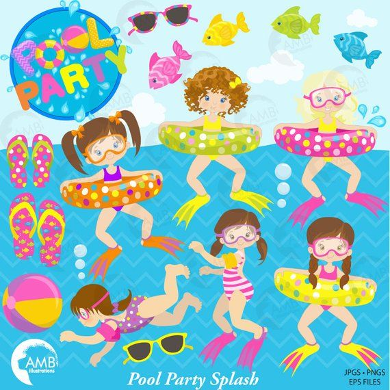 Birthday summer. Girl pool party clipart