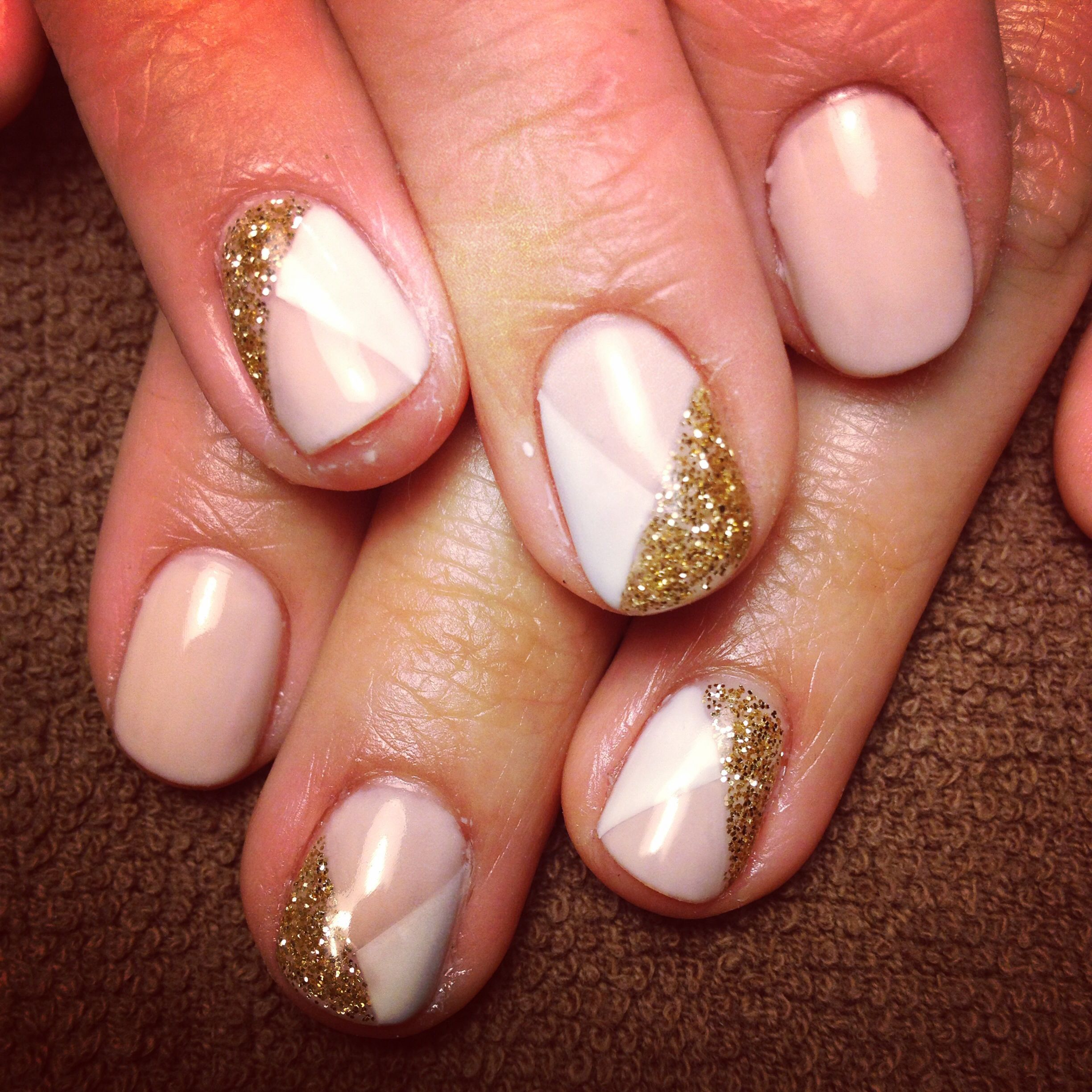 Nail art gold nude white accent glitter nails geometric gel polish ...