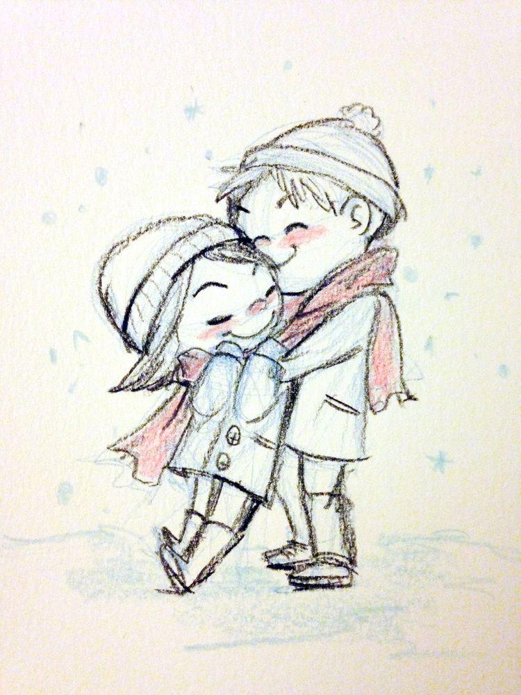 snowy embrace Genevieve Santos So cute drawings snow