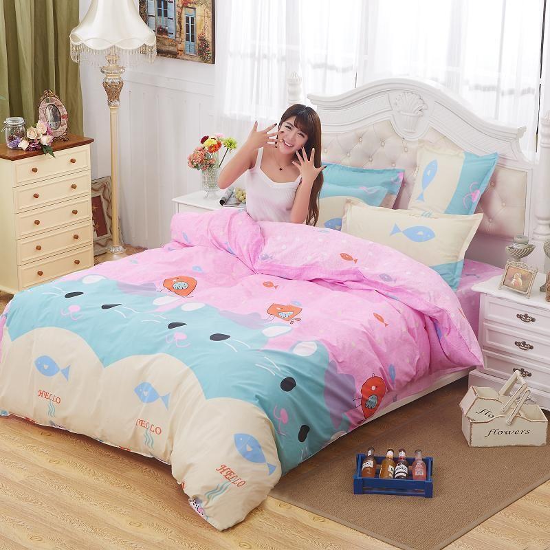 Twin Konigin Konig Kind Bett Set Kissenbezug Bettdecke Quilt Cover