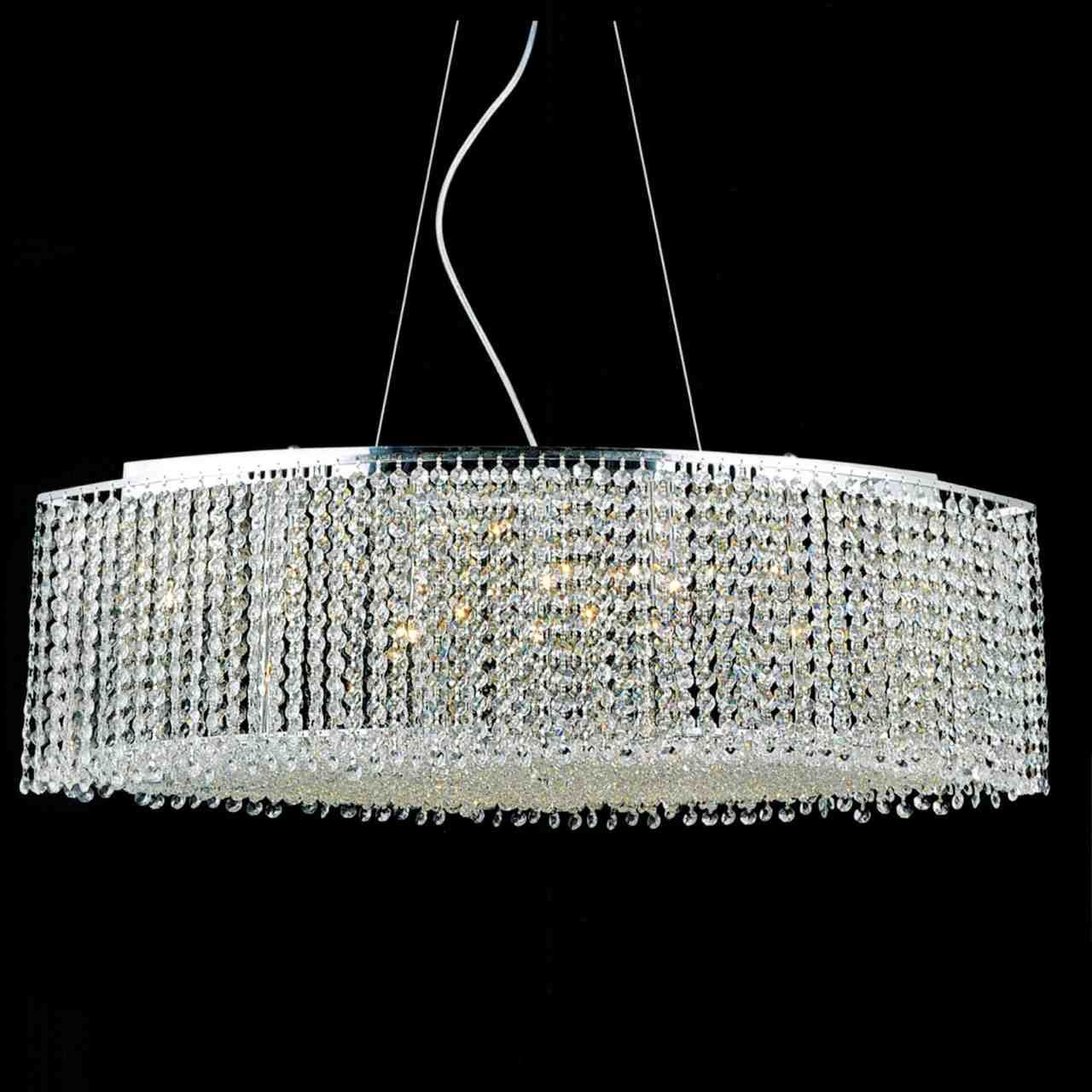"Modern Rectangular Chandeliers 35"" rainbow modern linear crystal chandelier, polished chrome, 15"
