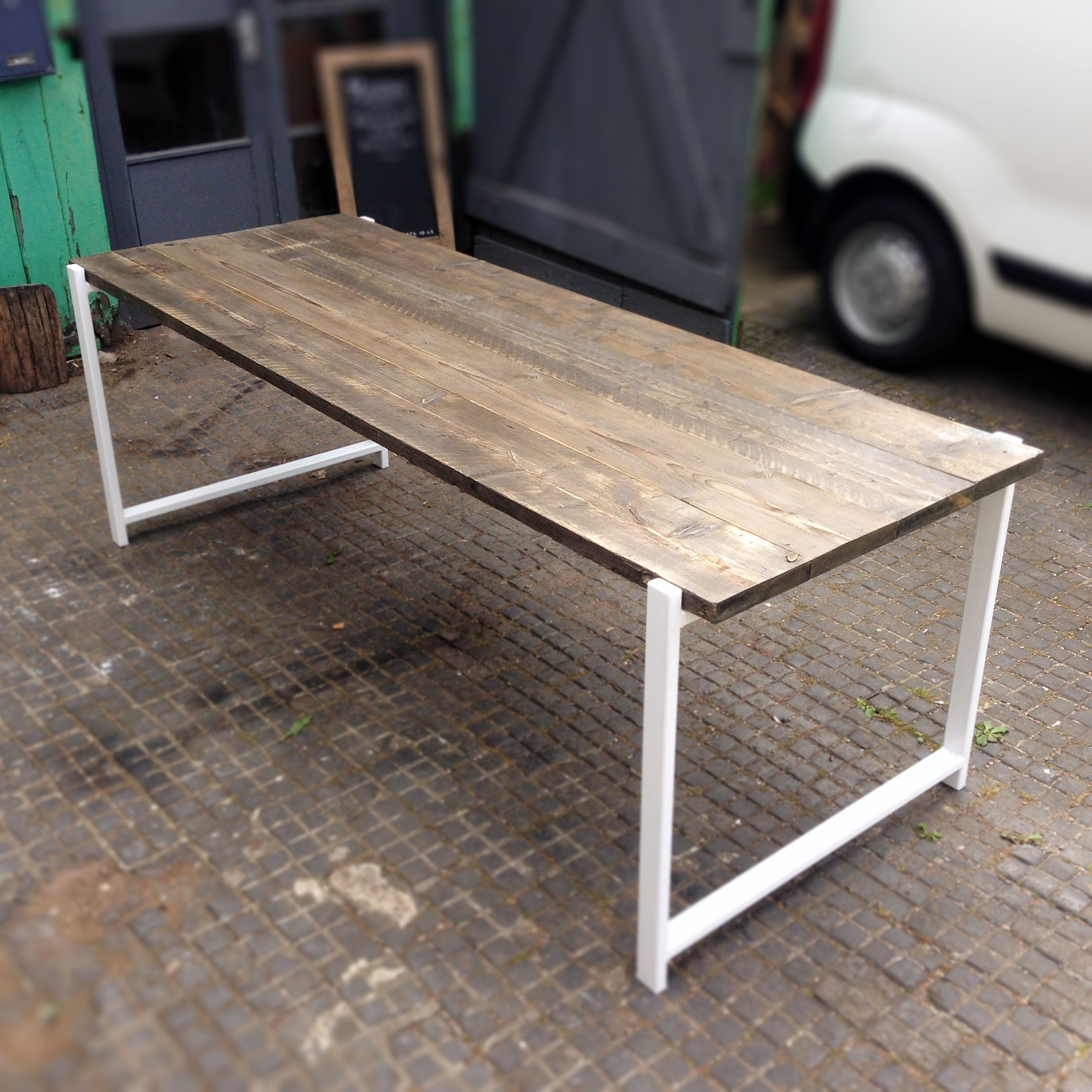 Helden Reclaimed Wood Dining Table With White Box Frame