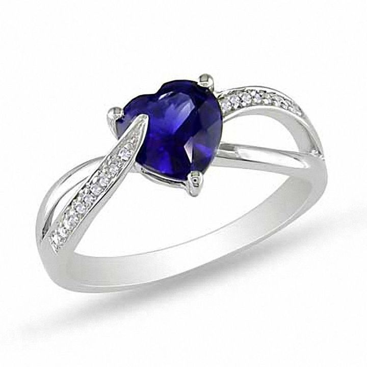 Zales 7.0mm Heart-Shaped Lab-Created Blue Sapphire and 1/20 CT. T.w. Diamond Ring in Sterling Silver 1ZHuVc