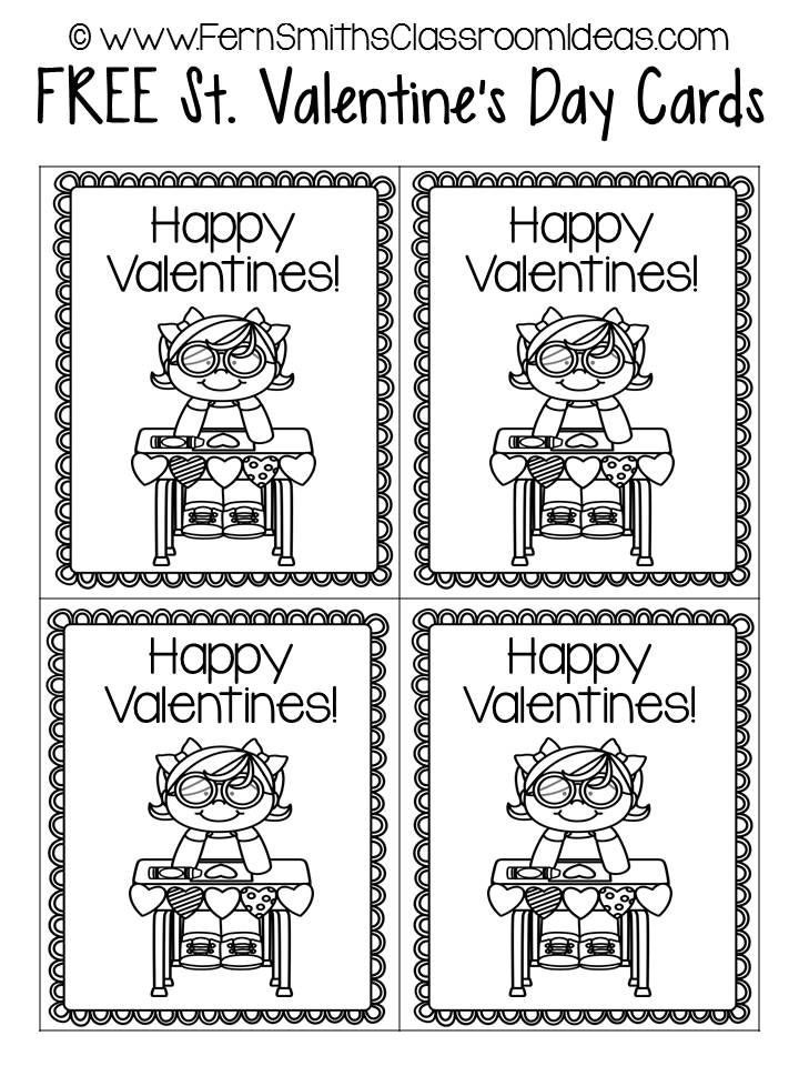 Fern Smith S Free St Valentine S Day Printable Cards Classroom Freebies Valentines Day Coloring Page Valentine Day Cards Happy Valentines Day Card