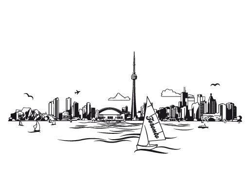 wandtattoo no ek156 toronto skyline wandsticker 266875 510 400 sketches pinterest. Black Bedroom Furniture Sets. Home Design Ideas
