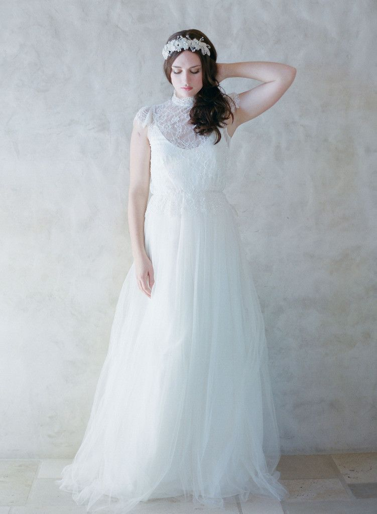 Trillium - Blousy lace top and silk tulle gown | Tulle gown, Gowns ...