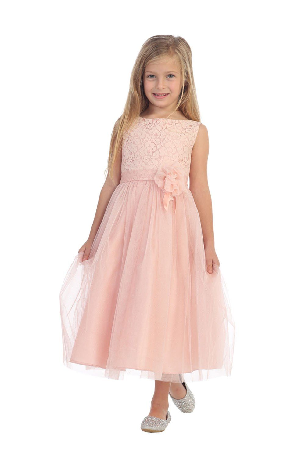 Blush Sleeveless Lace Detailing Flower Girl Dress with Overlay Tulle ...