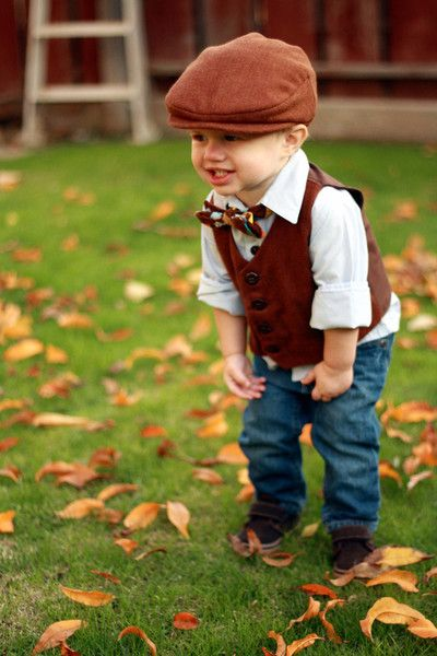 Vintage Modern Boys Vest Set Flat Cap Argyle Bow Tie