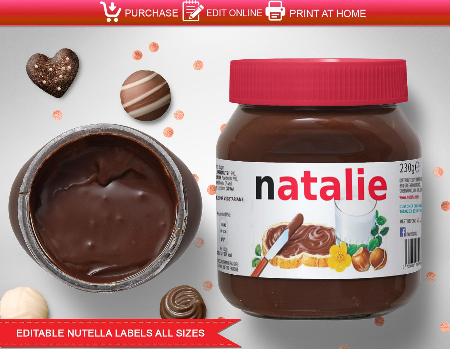 Nutella Label Printable In 2020 Nutella Label Nutella Printable Labels