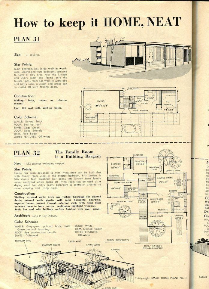 Plans From A 50s Magazine Called Australian House Garden Book Of Small Home Plans How To Plan House Plans House Floor Plans