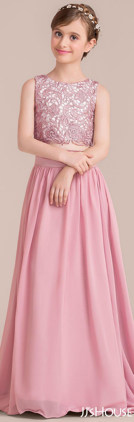 A-Line/Princess Scoop Neck Floor-Length Chiffon Junior Bridesmaid ...
