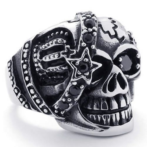 d6eb3730f194d Amazon.com: KONOV Jewelry Gothic Skull Cubic Zirconia Stainless ...