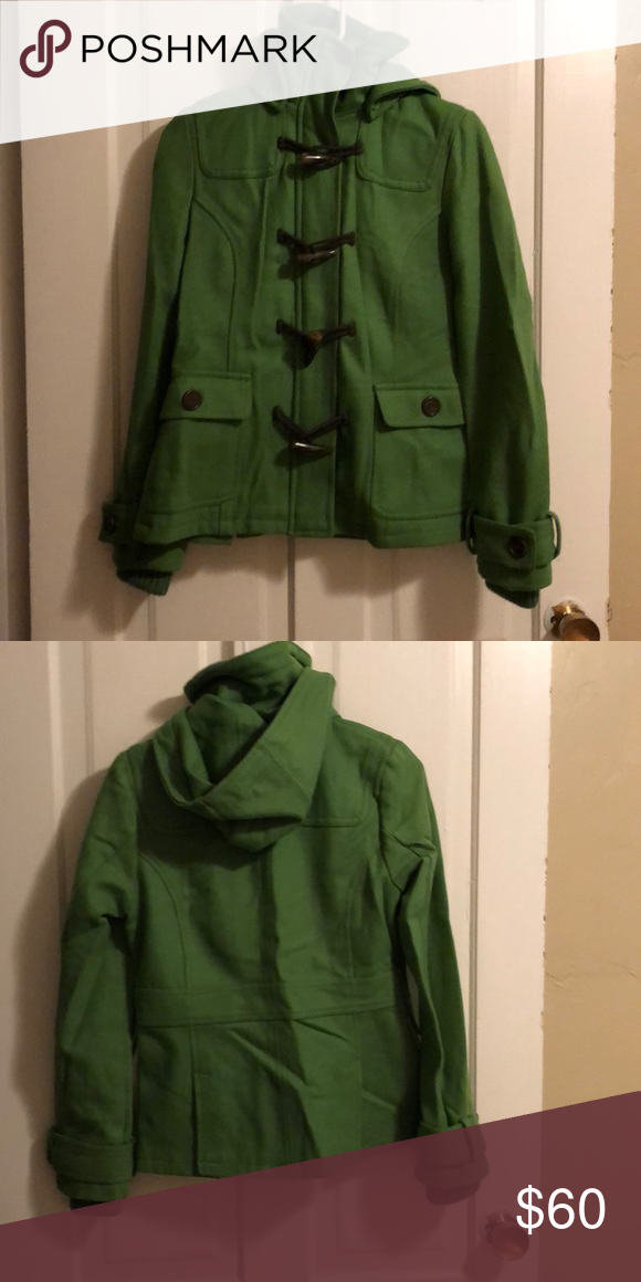 volume large in stock check out Green pea coat with removable hood Adorable green peacoat ...