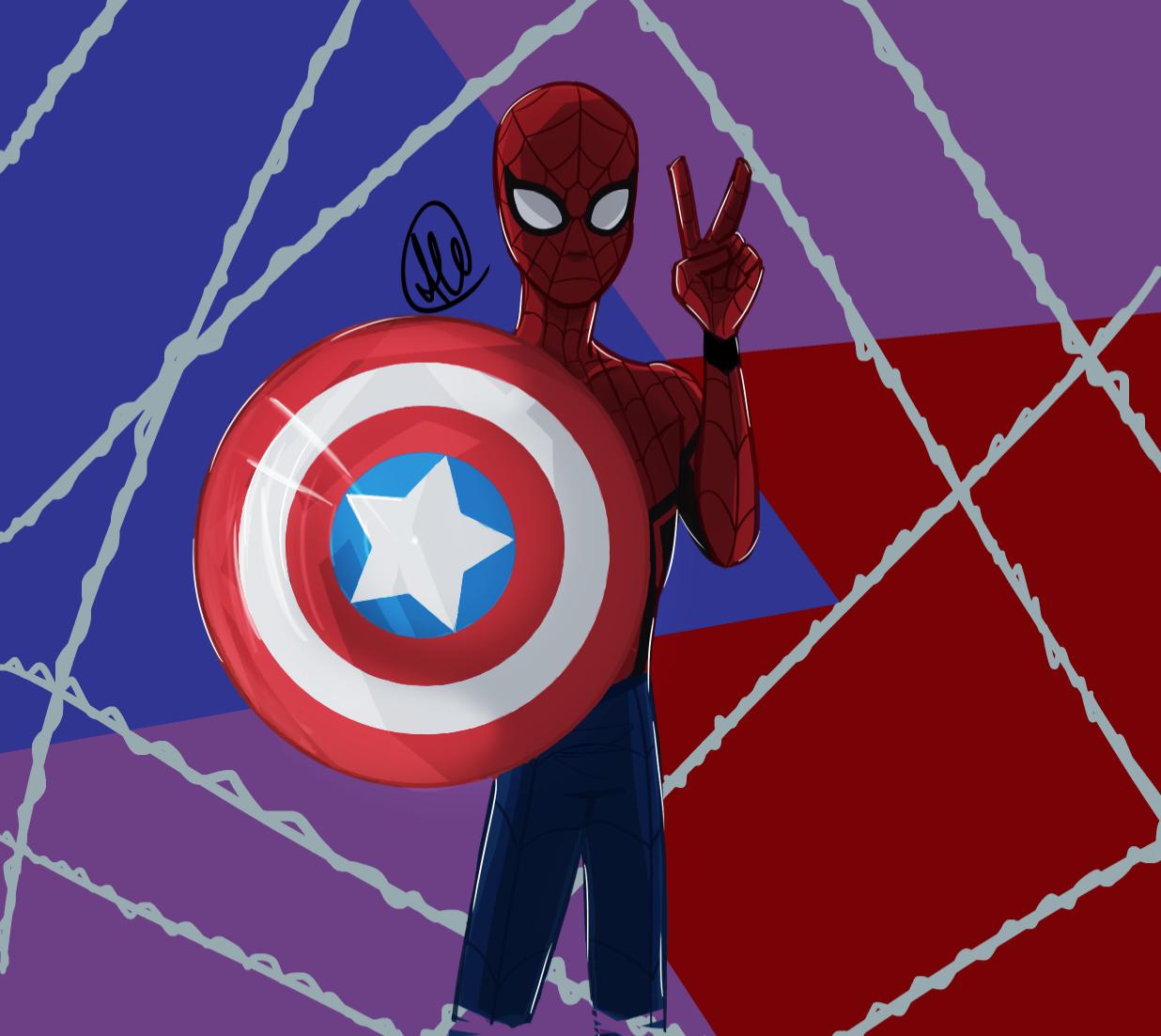 SpiderMan with Cap's shield Spiderman, Captain america