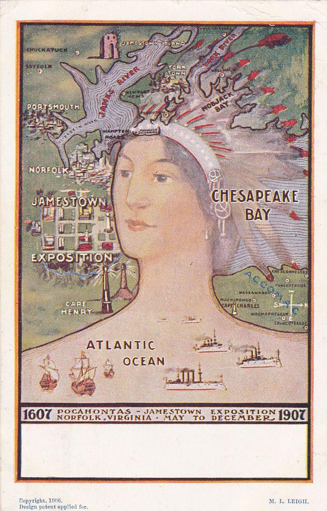 JAMESTOWN Virginia 1907 Pocahontas Indian Head Map
