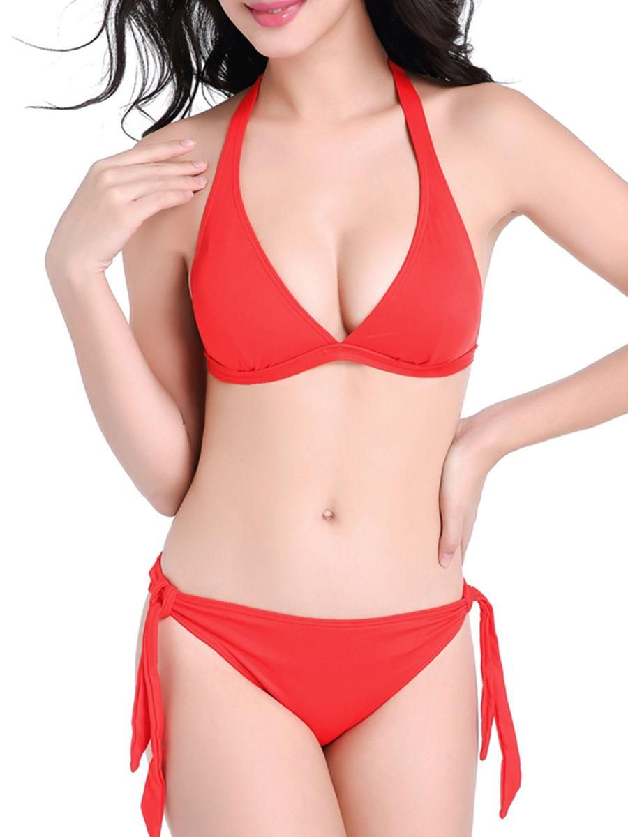 2017 Sexy Bikinis Women High Neck Waist Triangle Halter