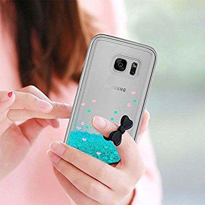 c10c45ed53c Funda Samsung Galaxy S7 Edge Purpurina Carcasa con HD Protectores de  Pantalla,LeYi Brillante Liquida