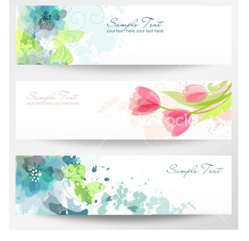 Set Of Three Banners Beautiful Floral Headers Stock Image