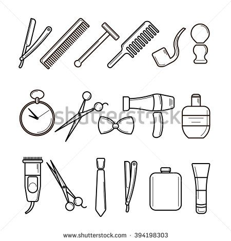 Set of Vector Barber Shop Elements and Shave Shop Icons